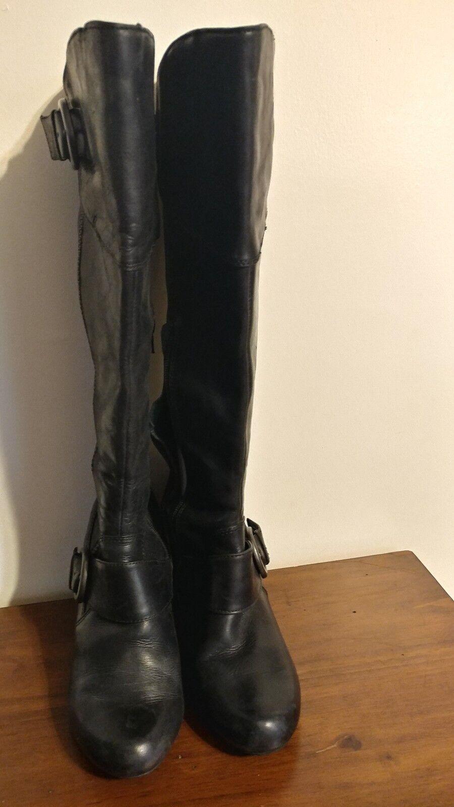 born black Yolanda tall leather boots size 8.5