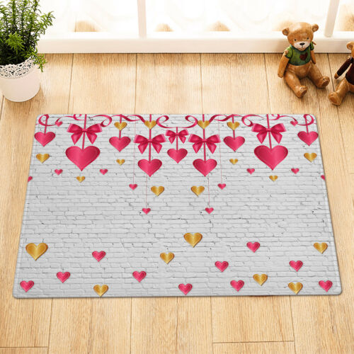 Details about  /Valentines Colorful Heart Ornaments Brick Wall Shower Curtain Set Bathroom Decor