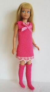 Vintage-SKIPPER-Doll-Clothes-Pink-DRESS-BOOTS-and-JEWELRY-Fashion-NO-DOLL-d4e