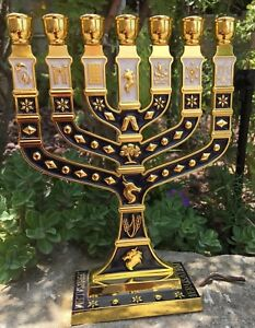 Blue-Enamel-Menorah-Gold-Plated-7-Branch-12-Tribes-Of-Israel-Jerusalem-10-8-034