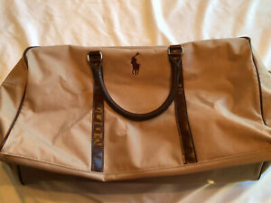Leather Details Adjustable Handle Vtg Ralph Polo Tan Canvas About Strap Bag Lauren Duffel FTlKc31J
