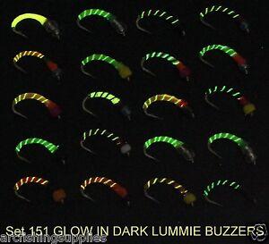 NEW 151 Hook size 16 Epoxy buzzer trout fly fishing 20 Glow in the dark flies