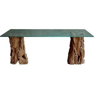 Glass Top Tree Trunk Base Dining Table 89208 Ebay