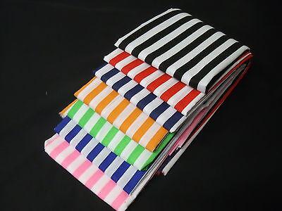 Stripes polycotton fabric Poplin Metre Red Black Orange Lime Blue Navy Black