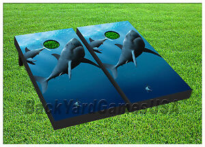 Vinyl Wraps Sharks Fish Ocean Cornhole Board Decals Bag