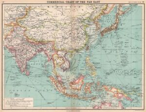 Map Of Asia In French.Asia East Indies British India Siam French Indochina 1912 Old