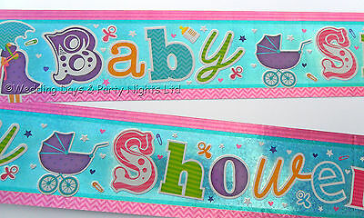 9ft Holographic Sparkly Foil Unisex Baby Shower Banner Boy Girl Party Decoration