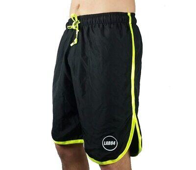 Appena Lab84 Pantaloncini Costume Shorts Mare Sport S8 Shm1002fluo Nero 4030y