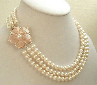 3 Rows 7-8mm Genuine White Pearl White Gold Plated Shell Flower Clasp Necklace