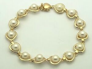 14K-Yellow-Gold-7-034-Heart-Chain-Link-Bracelet-with-Round-Water-Pearls-10-7-grams