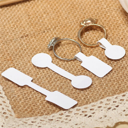 100X//bag Blank Adhesive Sticker Ring Necklace Jewelry Display Price Label Tag ET