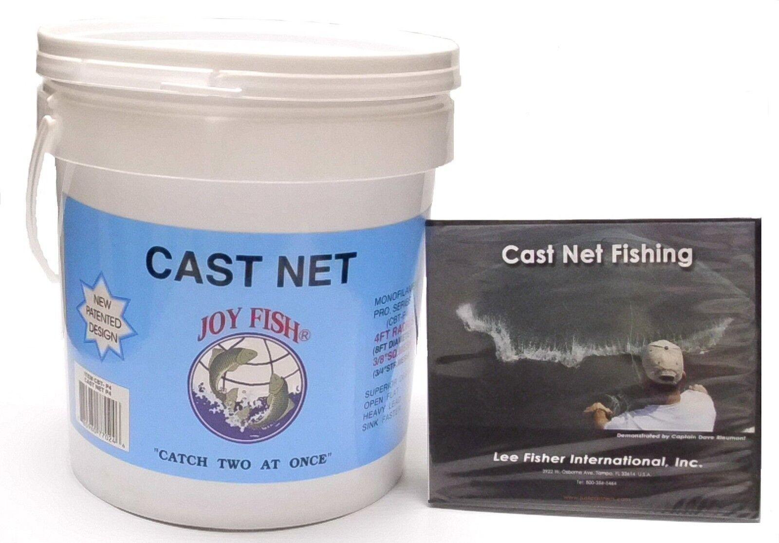 Joy Fish Professional Bait Cast Net with 3 8  Squared Mesh - 12 Foot Radius