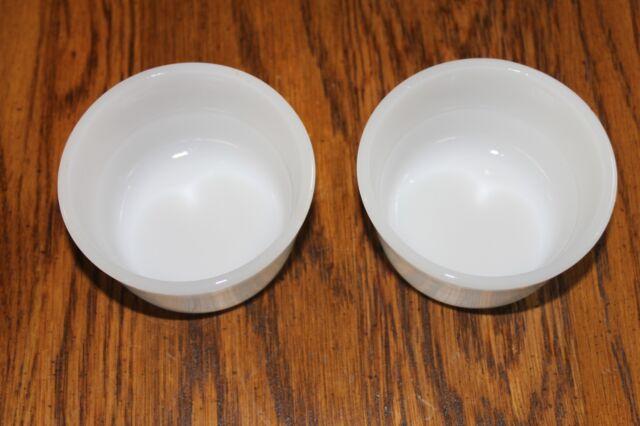2 Glasbake Milk-White Custard Dip Cups Bowls Milk Glass