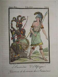 Gravure-COSTUME-COULEUR-AMAZONE-AMERIQUE-DU-SUD-AMERICA-AFRIQUE-AMAZONIE-1806