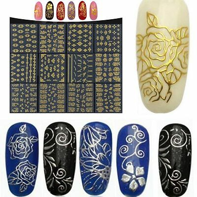 DIY Decoration Nail Art Stickers Manicure Decals Metallic Flower Gold/Silver