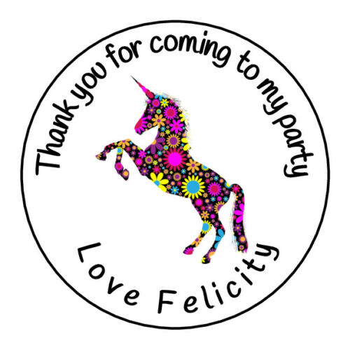 Personalised Unicorn Flowers Retro Box Gift Thank You Party Stickers Sweet Cones