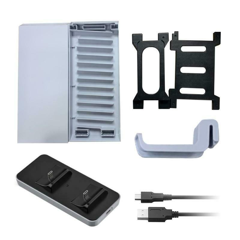 Game Discs Storage Tower Dual-seat Charging Dock Headset Hanger Rack Set for PS5