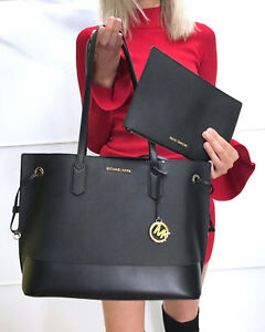 c0a46eedfd05f1 Image is loading Michael-Kors-Trista-Large-Drawstring-Tote-Leather-Bag-