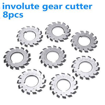 8pcs HSS M1 Diameter 22mm PA20° 20 Degree #1-8 Involute Gear Cutters Set