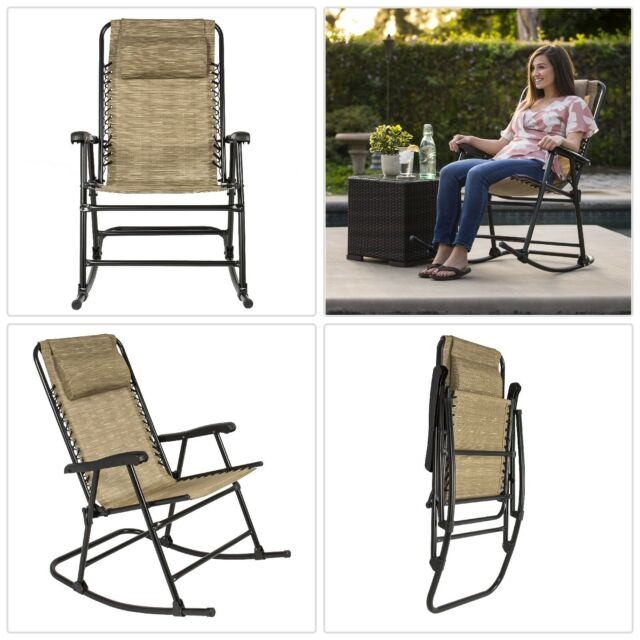 Rocking Chair Large Comfortable Sy Steel Folding Rocker Camping Patio Porch