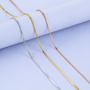 3-Colors-Classic-Genuine-s925-Sterling-Silver-Box-Chain-Necklace-16-039-039-18-039-039