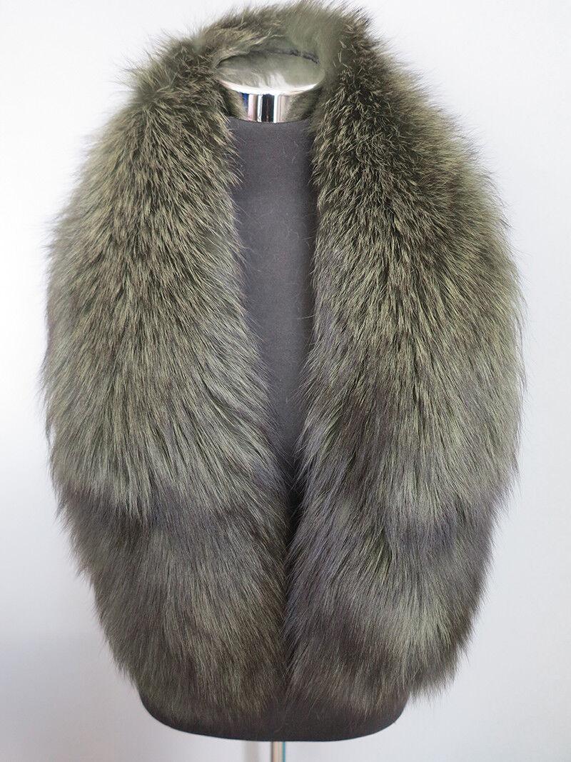 100% real fox fur collar/ wrap /scarf new madedark gree