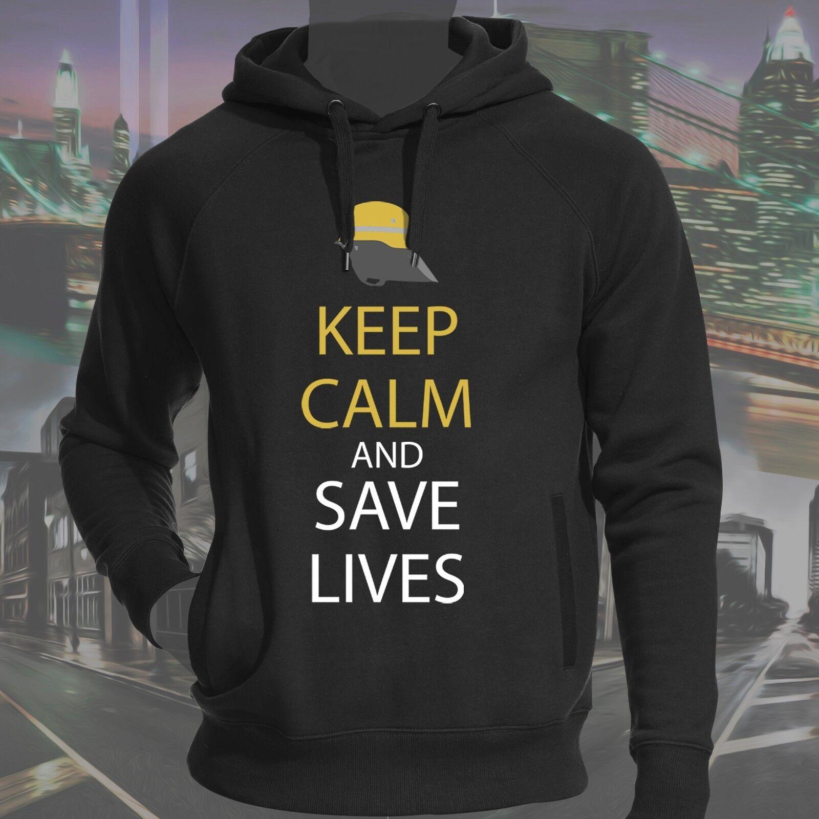Hochwertiger Hoodie Kapuzenpullover Baumwolle Feuerwehr Keep Calm