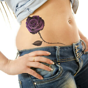 Large Small Purple Roses Flower Temporary Tattoos Women Arm