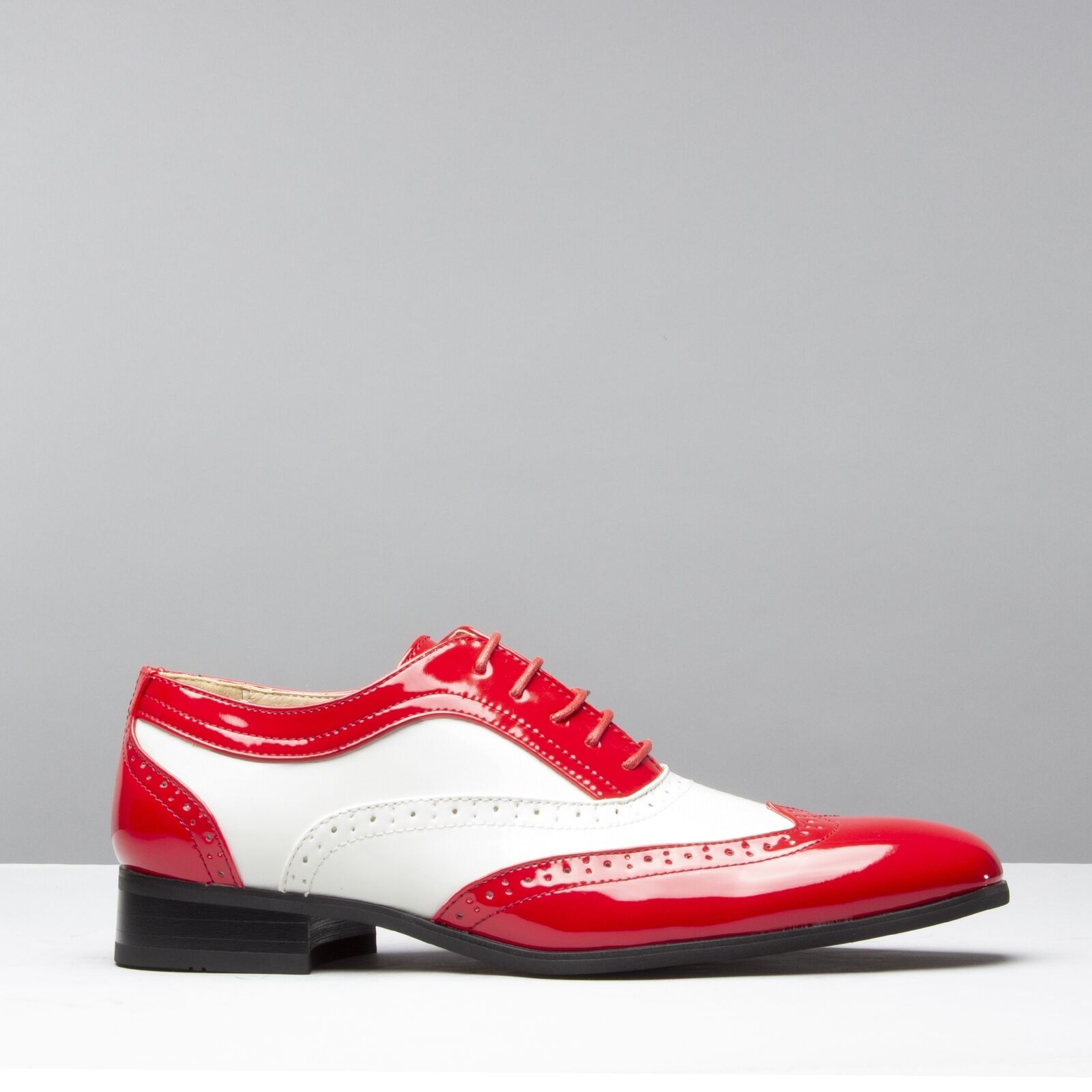 Mister Carlo BAGGIO Mens Faux Patent Leather Semi Semi Semi Brogue Lace Up schuhe rot Weiß  ff396e