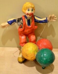 Creepy-Paper-Mache-Clown-Vintage-Mexican-Scary-Hanging-Balloons-Mobile-Halloween
