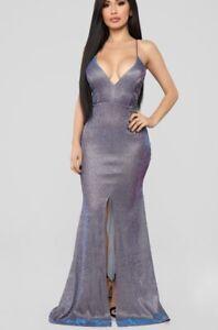 98ae173ef5483 Image is loading Fashion-Nova-Purple-Shimmer-Maxi-Dress-Party-Size-