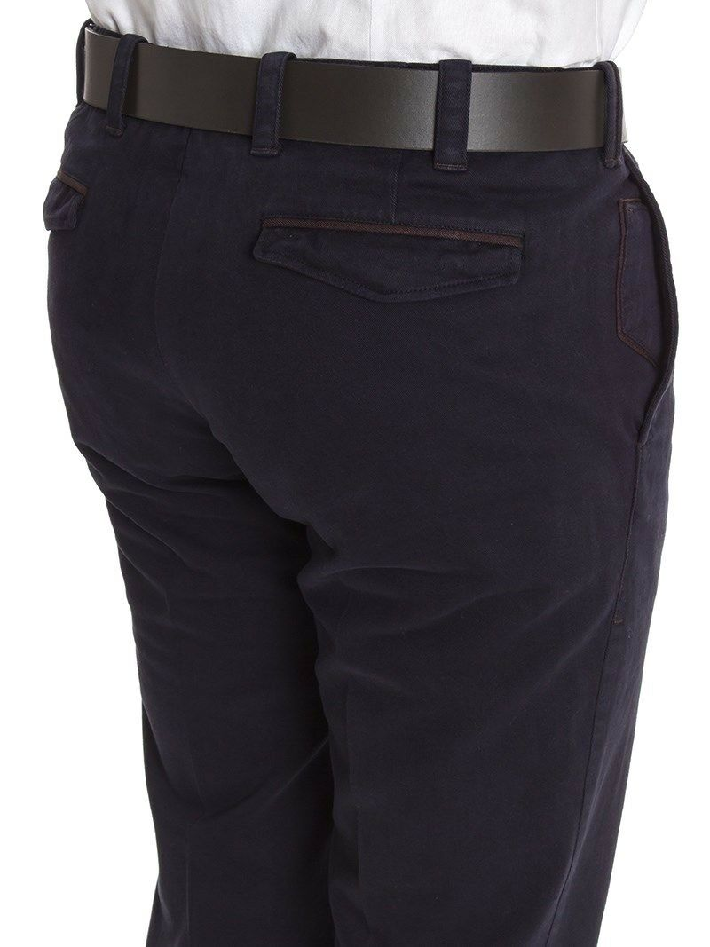 Pt01 Dark Dark Dark Blau 'BritChino' Turned Up Hem Trousers  - W38 L33 16635e