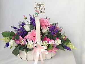 Mothers Day Silk Flower Basket Gift Artificial Floral Arrangement