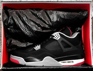buy online 05f21 42357 Image is loading Nike-Air-Jordan-4-Retro-BLACK-CEMENT-Size-