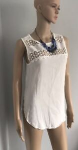 Chelsea-Theodore-Tank-Top-Blouse-Womens-Sz-S-Embroidered-Beige-Shirt-Sleeveless