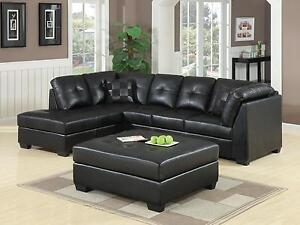 Image Is Loading Cool Contemporary Black Leather Sofa Sectional Ottoman Living