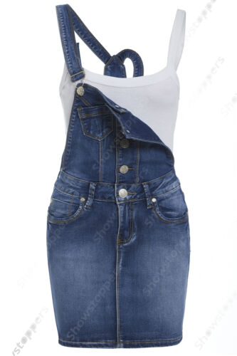 NEW Womens Denim Dungaree Dress Ladies Jean Pinafore Skirt Blue Sizes 8 10 12 14