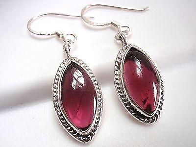 Garnet Earrings 925 Sterling Silver Dangle Rope Style Accents Corona Sun Jewelry