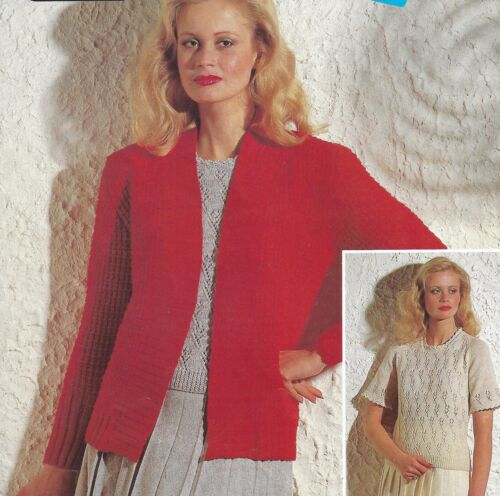 1344 LADYS JACKET /& SWEATER DOUBLE KNIT /& 4PLY 32 TO 38 INCH KNITTING PATTERN