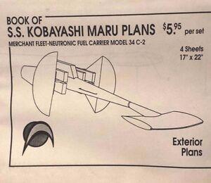 """Vintage Star Trek Kobayashi Maru Blueprint Set-4 Sheets 17/"""" x 22/"""" Exteriors"""