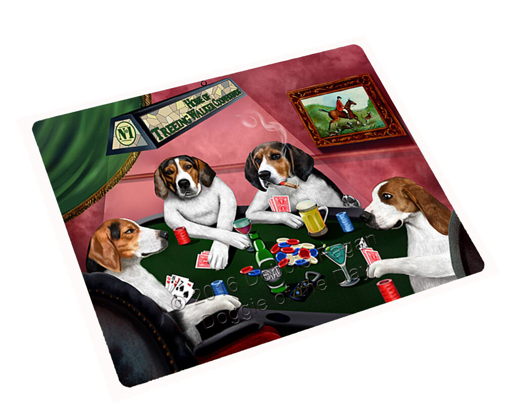 Home of Treeing Walker Coonhound Dogs Playing Poker Throw Sherpa Blanket NWT