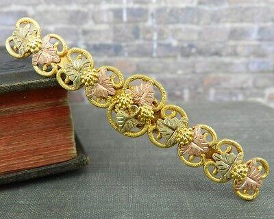 Black Hills Gold 10K Tri-Color Gold Grape Leaf Bar Pin/ Brooch