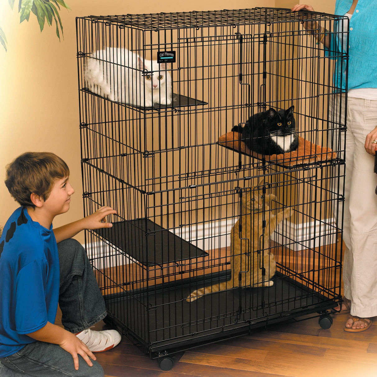 Cat Folding Cage Collapsible Pet Kitten Wire Cage  Portable Large Playpen New