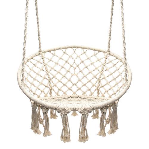 Garden Swing Macrame Outdoor Cotton Rope Hammock Indoor Home Round Hanging Chair
