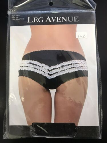Leg Avenue Contrast Ruffle Panty Bloomer Black White 2978 Dance French Maid S//M