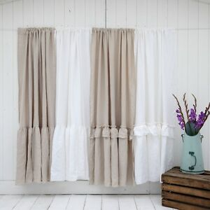 Image Is Loading Linen Shower Curtain 100 Stonewashed Shabby Chic