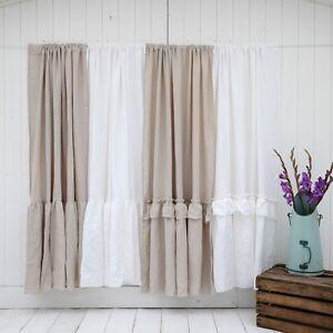 Image Is Loading Linen Shower Curtain 100 Stonewashed Shabby Chic