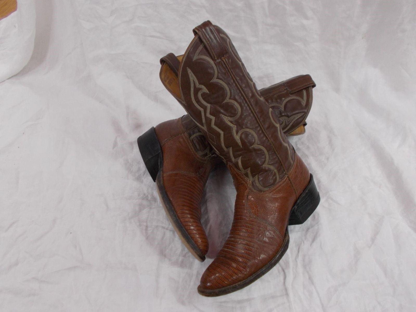 A + de colección negro Label TONY LAMA Marrón Teju Lizard Hombre Clásicas botas De Vaquero