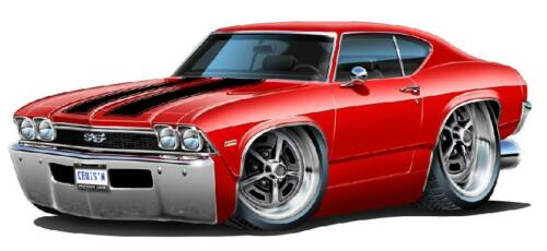 1968 Chevelle SS 396 L-78 Cartoon Car Wall Decal Sticker Cling Graphic FREE SHIP