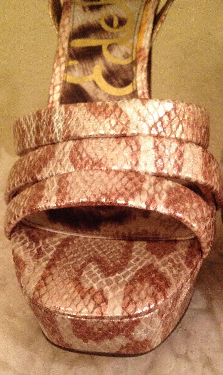 New  130 Sam Edelman Edelman Edelman TARYN ICE SHIMMER Metallic Snake 5  Heels Sandals 7.5 M d4859b